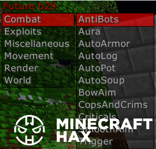 Hacked client Future b29 for Minecraft 1 8
